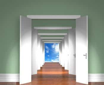 36748830 - ssequence of the open white doors to heaven.